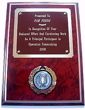 Plaque presented to Pam in 2006 from A Troop, 3/17th Air Cav